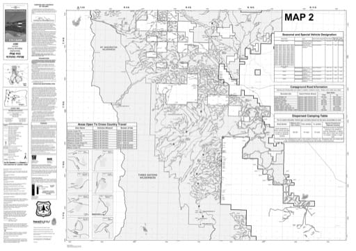 Map 2 of the Motor Vehicle Use Map (MVUM) of Deschutes National Forest (NF) in Oregon. Published by the U.S. Forest Service (USFS).