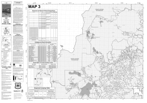 Map 3 of the Motor Vehicle Use Map (MVUM) of Deschutes National Forest (NF) in Oregon. Published by the U.S. Forest Service (USFS).