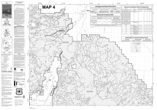 Map 4 of the Motor Vehicle Use Map (MVUM) of Deschutes National Forest (NF) in Oregon. Published by the U.S. Forest Service (USFS).