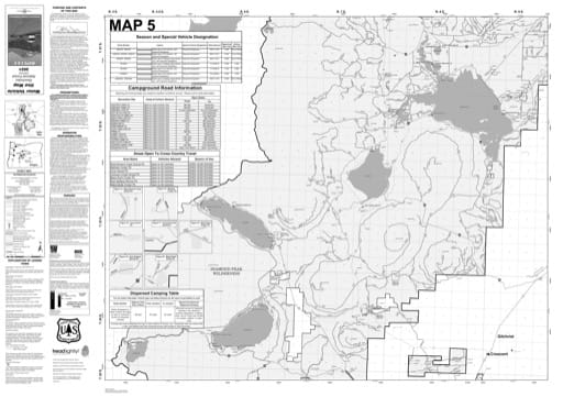 Map 5 of the Motor Vehicle Use Map (MVUM) of Deschutes National Forest (NF) in Oregon. Published by the U.S. Forest Service (USFS).