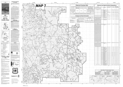 Map 7 of the Motor Vehicle Use Map (MVUM) of Deschutes National Forest (NF) in Oregon. Published by the U.S. Forest Service (USFS).