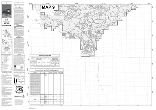 Map 9 of the Motor Vehicle Use Map (MVUM) of Deschutes National Forest (NF) in Oregon. Published by the U.S. Forest Service (USFS).