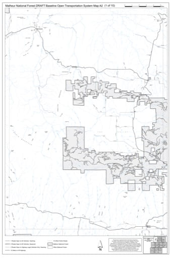 Map A2 of the Malheur National Forest DRAFT Baseline Open Transportation System for Malheur National Forest (NF) in Oregon. Published by the U.S. Forest Service (USFS).