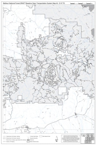 Map A3 of the Malheur National Forest DRAFT Baseline Open Transportation System for Malheur National Forest (NF) in Oregon. Published by the U.S. Forest Service (USFS).
