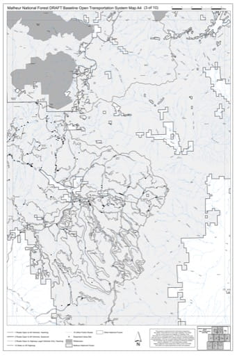 Map A4 of the Malheur National Forest DRAFT Baseline Open Transportation System for Malheur National Forest (NF) in Oregon. Published by the U.S. Forest Service (USFS).