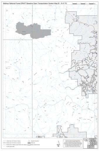 Map B1 of the Malheur National Forest DRAFT Baseline Open Transportation System for Malheur National Forest (NF) in Oregon. Published by the U.S. Forest Service (USFS).