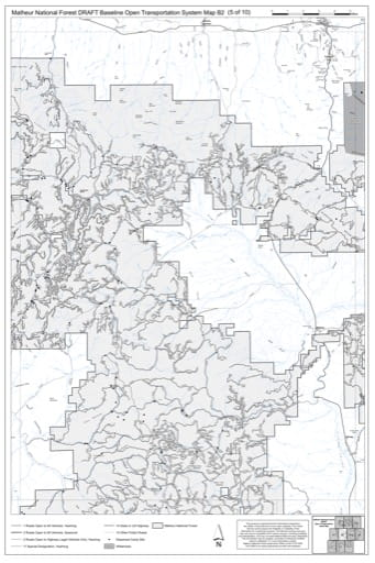 Map B2 of the Malheur National Forest DRAFT Baseline Open Transportation System for Malheur National Forest (NF) in Oregon. Published by the U.S. Forest Service (USFS).