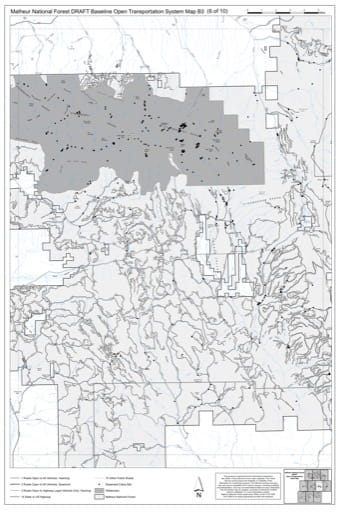 Map B3 of the Malheur National Forest DRAFT Baseline Open Transportation System for Malheur National Forest (NF) in Oregon. Published by the U.S. Forest Service (USFS).