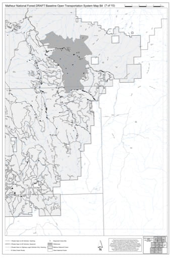 Map B4 of the Malheur National Forest DRAFT Baseline Open Transportation System for Malheur National Forest (NF) in Oregon. Published by the U.S. Forest Service (USFS).