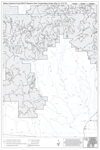 Map C2 of the Malheur National Forest DRAFT Baseline Open Transportation System for Malheur National Forest (NF) in Oregon. Published by the U.S. Forest Service (USFS).