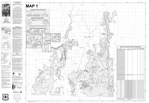 Map 1 of the Motor Vehicle Use Map (MVUM) of Ochoco National Forest (NF) in Oregon. Published by the U.S. Forest Service (USFS).