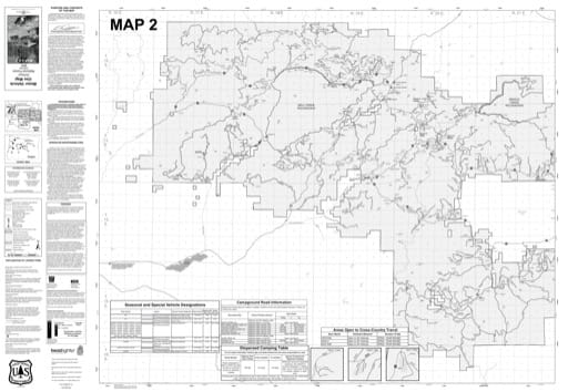 Map 2 of the Motor Vehicle Use Map (MVUM) of Ochoco National Forest (NF) in Oregon. Published by the U.S. Forest Service (USFS).