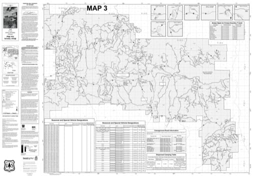 Map 3 of the Motor Vehicle Use Map (MVUM) of Ochoco National Forest (NF) in Oregon. Published by the U.S. Forest Service (USFS).