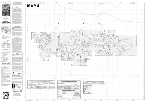 Map 4 of the Motor Vehicle Use Map (MVUM) of Ochoco National Forest (NF) in Oregon. Published by the U.S. Forest Service (USFS).