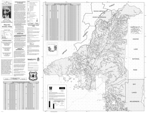 Motor Vehicle Use Map (MVUM) of the High Cascades Ranger District (north) in Rogue River-Siskiyou National Forest (NF) in Oregon. Published by the U.S. Forest Service (USFS).