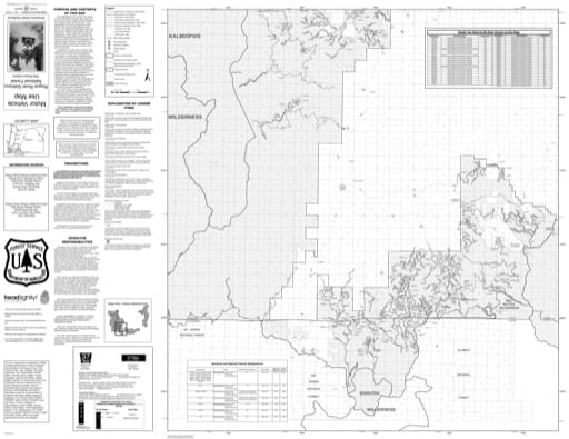 Motor Vehicle Use Map (MVUM) of the Wild Rivers Ranger District (south) in Rogue River-Siskiyou National Forest (NF) in Oregon. Published by the U.S. Forest Service (USFS).