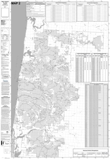 Motor Vehicle Use Map (MVUM) of the northern part of Central Coast Ranger Districts (RD) in Siuslaw National Forest (NF) in Oregon. Published by the U.S. Forest Service (USFS).