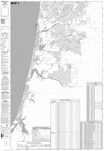 Motor Vehicle Use Map (MVUM) of the southern part of Central Coast Ranger Districts (RD) in Siuslaw National Forest (NF) in Oregon. Published by the U.S. Forest Service (USFS).