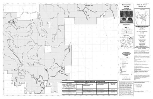 Motor Vehicle Use Map (MVUM) of Heppner Ranger District in Umatilla National Forest (NF) in Oregon. Published by the U.S. Forest Service (USFS).