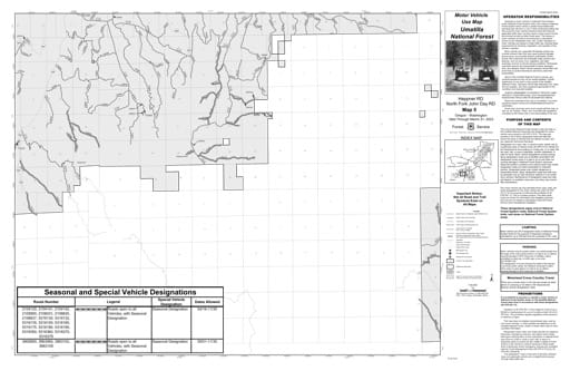 Motor Vehicle Use Map (MVUM) of Heppner Ranger District and North Fork John Day Ranger District in Umatilla National Forest (NF) in Oregon. Published by the U.S. Forest Service (USFS).