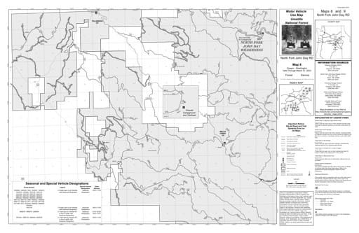 Motor Vehicle Use Map (MVUM) of North Fork John Day Ranger District in Umatilla National Forest (NF) in Oregon. Published by the U.S. Forest Service (USFS).