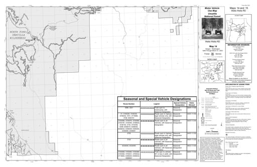Motor Vehicle Use Map (MVUM) of Walla Walla Ranger District in Umatilla National Forest (NF) in Oregon. Published by the U.S. Forest Service (USFS).