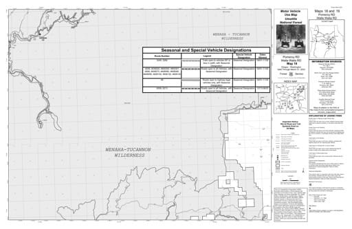 Motor Vehicle Use Map (MVUM) of Pomeroy Ranger District and Walla Walla Ranger District in Umatilla National Forest (NF) in Oregon. Published by the U.S. Forest Service (USFS).