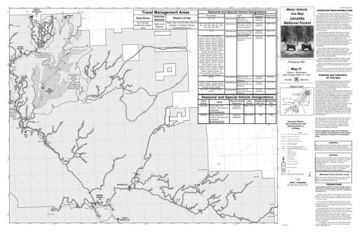 Motor Vehicle Use Map (MVUM) of Pomeroy Ranger District in Umatilla National Forest (NF) in Oregon. Published by the U.S. Forest Service (USFS).