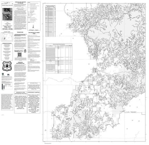 Motor Vehicle Use Map (MVUM) of the Western part of Tiller Ranger District (RD) in Umpqua National Forest (NF) in Oregon. Published by the U.S. Forest Service (USFS).