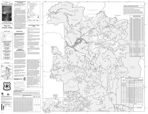 Motor Vehicle Use Map (MVUM) of the Detroit Ranger District in Willamette National Forest (NF) in Oregon. Published by the U.S. Forest Service (USFS).
