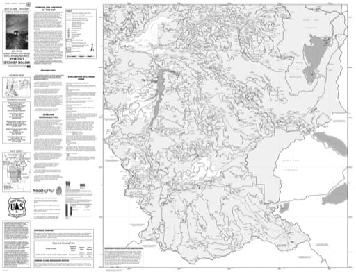 Motor Vehicle Use Map (MVUM) of the Middle Fork Ranger District (south) in Willamette National Forest (NF) in Oregon. Published by the U.S. Forest Service (USFS).