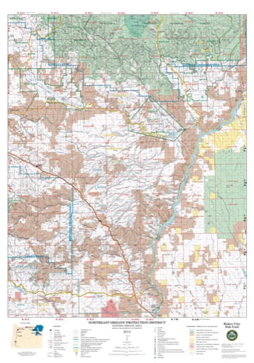 Map of the Baker City Sub Unit of the Northeast Oregon Protection District. Published by the Oregon Department of Forestry.