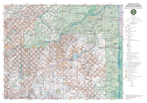 Map of the Trail Sub-Unit in Southwest Oregon Protection District. Published by the Oregon Department of Forestry.