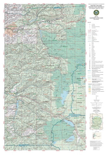 Map of the Eastern Lane Unit in South Cascade Protection District in Oregon. Published by the Oregon Department of Forestry.