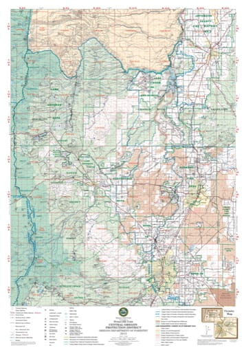 Map of the Sisters Sub-Unit North of the Prineville Unit in the Central Oregon Protection District. Published by the Oregon Department of Forestry.