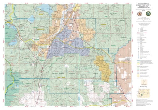 Map of the Walker Range Forest Protective Association area in Eastern Oregon. Published by the Oregon Department of Forestry.