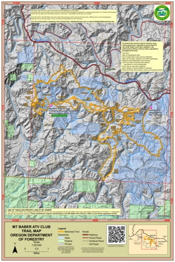 Map of Off-Highway Vehicle (OHV) trails at the Mt. Baber ATV Club area near Eddyville in Oregon. Published by the Oregon Department of Forestry.