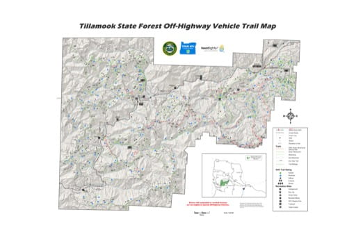 Off-Highway Vehicle (OHV) Trail Map of Browns Camp, Jordan Creek, Diamond Mill, Trask OHV Areas in Tillamook State Forest in Oregon. Published by the Oregon Department of Forestry.