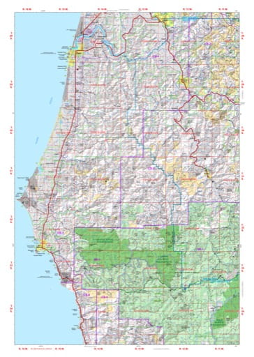 Map of Fourmile in the Coos Forest Protective Association area in Oregon. Published by the Oregon Department of Forestry.