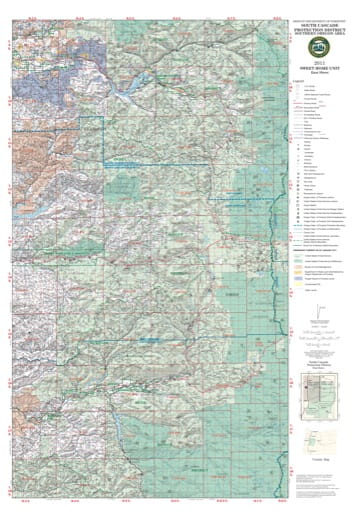 Map of Sweethome East in the South Cascade Protection District in Southern Oregon. Published by the Oregon Department of Forestry.