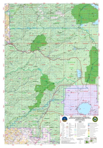 Map of the Eastern part of the Douglas Forest Protection Association area in Oregon. Published by the Oregon Department of Forestry.