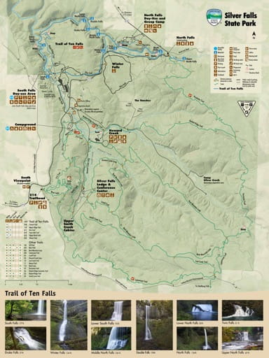 map of Silver Falls - Trail Map