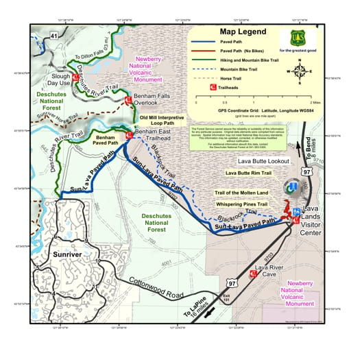 map of Newberry National Volcanic Monument - Sun-Lava Paved Path