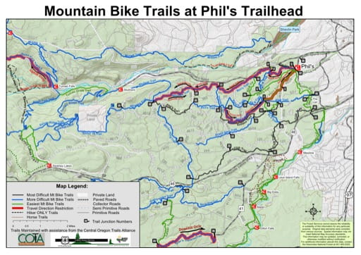 map of Deschutes NF - Mountain Bike Trails at Phil's Trailhead