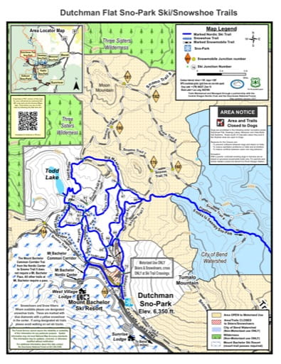 Map of Dutchman Flat Sno-Park Ski/Snowshoe Trails in Deschutes National Forest (NF) in Oregon. Published by the U.S. Forest Service (USFS).