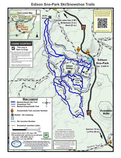 Map of Edison Sno-Park Ski/Snowshoe Trails in Deschutes National Forest (NF) in Oregon. Published by the U.S. Forest Service (USFS).