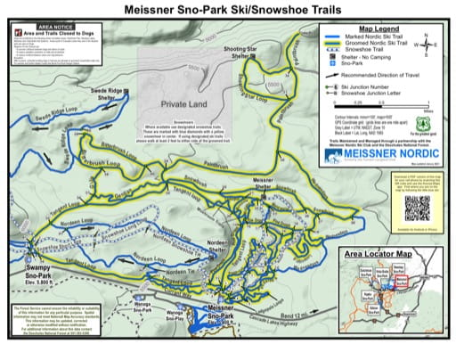 Map of Meissner Sno-Park Ski/Snowshoe Trails in Deschutes National Forest (NF) in Oregon. Published by the U.S. Forest Service (USFS).
