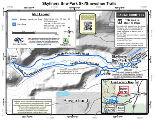Map of Skyliners Sno-Park Ski/Snowshoe Trails in Deschutes National Forest (NF) in Oregon. Published by the U.S. Forest Service (USFS).