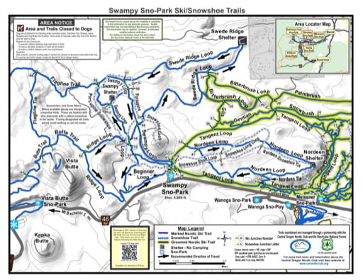 Map of Swampy Sno-Park Ski/Snowshoe Trails in Deschutes National Forest (NF) in Oregon. Published by the U.S. Forest Service (USFS).