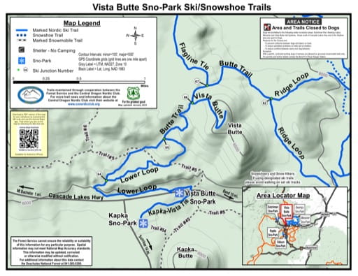 Map of Vista Butte Sno-Park Ski/Snowshoe Trails in Deschutes National Forest (NF) in Oregon. Published by the U.S. Forest Service (USFS).